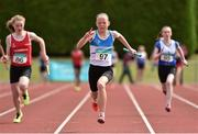 5 July 2014; Corrine Kenny, St. Laurence O'Toole AC, on her way to winning the Girl's U14 4x100m final event. GloHealth AAI Juvenile Track and Field Relay Championships, Tullamore, Co. Offaly. Picture credit: Pat Murphy / SPORTSFILE