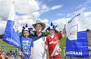 6 July 2014; Monaghan supporters, from left, Luke, Shane and Conor Mulligan, from Aghnamullen, Co. Monaghan. Ulster GAA Football Senior Championship, Semi-Final Replay, Armagh v Monaghan, St Tiernach's Park, Clones, Co. Monaghan. Picture credit: Ramsey Cardy / SPORTSFILE