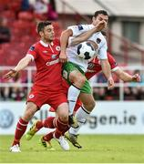 6 July 2014; John Russell, Sligo Rovers in action against Cillian Morrison, Cork City. SSE Airtricity League Premier Division, Sligo Rovers v Cork City, Showgrounds, Sligo. Picture credit: David Maher / SPORTSFILE