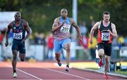 8 July 2014; Mark Lewis Francis, 201, Great Britain, in action against Philip Redrick, 205, USA, and David Hynes, 216, Ireland, during the Men's 100m. Cork City Sports 2014, CIT, Bishopstown, Cork. Picture credit: Brendan Moran / SPORTSFILE