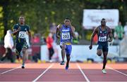 8 July 2014; Ramon Gittens, 202, Barbados, in action against Henricho Bruintjies, South Africa, and Philip redrick, during the Men's 100m. Cork City Sports 2014, CIT, Bishopstown, Cork. Picture credit: Brendan Moran / SPORTSFILE