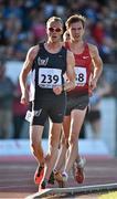 8 July 2014; Kevin Campion, France, leads Dane Bird Smith, Australia, during the Men's 3000m Walk. Cork City Sports 2014, CIT, Bishopstown, Cork. Picture credit: Brendan Moran /