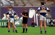 18th July 1999; Referee Seamus Prior sends off Damian Delaney of Laois during the Bank of Ireland Leinster Football Championship Semi Final Replay between Dublin and Laois at Croke Park in Dublin. Photo by Damien Eagers/Sportsfile