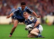 18th July 1999; Patrick Conway of Laois in action against Jason Sherlock of Dublin during the Bank of Ireland Leinster Football Championship Semi Final Replay between Dublin and Laois at Croke Park in Dublin. Photo by Damien Eagers/Sportsfile