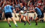 18th July 1999; Hugh Emerson of Laois in action against Brian Stynes and Dessie Farrell of Dublin during the Bank of Ireland Leinster Football Championship Semi Final Replay between Dublin and Laois at Croke Park in Dublin. Photo by Damien Eagers/Sportsfile