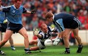 18th July 1999; Hugh Emerson of Laois in action against Davy Byrne of Dublin during the Bank of Ireland Leinster Football Championship Semi Final Replay between Dublin and Laois at Croke Park in Dublin. Photo by Damien Eagers/Sportsfile