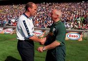1 August 1999; Dublin manager Tommy Carr shakes hands with Meath manager Sean Boylan ahead of the Bank of Ireland Guinness Leinster Senior Football Championship Final match between Dublin and Meath at Croke Park in Dublin. Photo by Ray McManus/Sportsfile