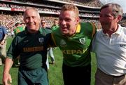 1 August 1999; Sean Boylan of Meath Manager, left, celebrates with Tommy Dowd, centre, following the Bank of Ireland Guinness Leinster Senior Football Championship Final match between Dublin and Meath at Croke Park in Dublin. Photo by Ray McManus/Sportsfile