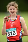 13 July 2014; Katherine O'Connor, St. Gerards AC, Dundalk, Co. Louth, who won silver in the Girls under-15 Long Jump. GloHealth Juvenile Track and Field Championships, Tullamore Harriers AC, Tullamore, Co. Offaly. Picture credit: Matt Browne / SPORTSFILE