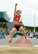 13 July 2014; Katherine O'Connor from St. Gerards AC, Dundalk, Co. Louth, who won silver in the Girls under-15 Long Jump. GloHealth Juvenile Track and Field Championships, Tullamore Harriers AC, Tullamore, Co. Offaly. Picture credit: Matt Browne / SPORTSFILE