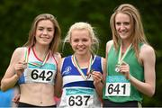 13 July 2014; Molly Scott from St Laurence O'Toole AC, Co. Carlow, centre, who won gold in the girls under-16 80m hurdles with 2nd place Aoife Cloke-Rochford, left, from Bree AC, Co. Wexford, and 3rd place Shannon Sheehy, from Cushinstown AC, Co. Meath. GloHealth Juvenile Track and Field Championships, Tullamore Harriers AC, Tullamore, Co. Offaly. Picture credit: Matt Browne / SPORTSFILE