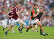 13 July 2014; Aidan O'Shea, Mayo, in action against Greg Higgins, Galway. Connacht GAA Football Senior Championship Final, Mayo v Galway, Elverys MacHale Park, Castlebar, Co. Mayo. Picture credit: David Maher / SPORTSFILE