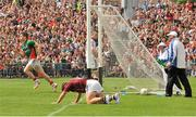 13 July 2014; Lee Keegan, Mayo, celebrates after scoring a goal against goalkeeper Manus Breathnach and Donal O'Neill. Connacht GAA Football Senior Championship Final, Mayo v Galway, Elverys MacHale Park, Castlebar, Co. Mayo. Picture credit: Ray Ryan / SPORTSFILE