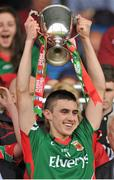 13 July 2014;  Mayo minor captain Cian Hanley raises the cup. Electric Ireland Connacht GAA Football Minor Championship Final, Mayo v Roscommon, Elverys MacHale Park, Castlebar, Co. Mayo. Picture credit: Ray Ryan / SPORTSFILE