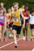13 July 2014; Michael Farrelly from Portmarnock AC, Co. Dublin, on his way to winning the boys under-13 80m. GloHealth Juvenile Track and Field Championships, Tullamore Harriers AC, Tullamore, Co. Offaly. Picture credit: Matt Browne / SPORTSFILE