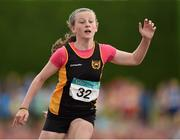 13 July 2014; Emma O'Brien from Blackrock AC, Co. Dublin, after she won the girls under-12 60m. GloHealth Juvenile Track and Field Championships, Tullamore Harriers AC, Tullamore, Co. Offaly. Picture credit: Matt Browne / SPORTSFILE