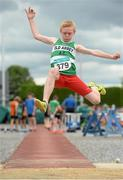 13 July 2014; Diarmuid O'Connor, from Old Abbey AC, Co. Cork, who won the boys under-13 long jump. GloHealth Juvenile Track and Field Championships, Tullamore Harriers AC, Tullamore, Co. Offaly. Picture credit: Matt Browne / SPORTSFILE