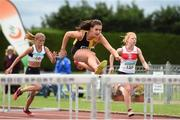 13 July 2014; Ciara Deely, from Kilkenny City Harriers AC, on her way to winning the girls under-15 80m hurdles. GloHealth Juvenile Track and Field Championships, Tullamore Harriers AC, Tullamore, Co. Offaly. Picture credit: Matt Browne / SPORTSFILE