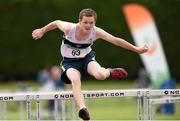 13 July 2014; Max Carey from Donore Harriers AC, Co. Dublin, who won the boys under-15 hurdles. GloHealth Juvenile Track and Field Championships, Tullamore Harriers AC, Tullamore, Co. Offaly. Picture credit: Matt Browne / SPORTSFILE