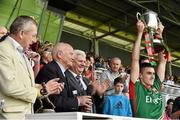 13 July 2014; Mayo minor captain Cian Hanley, with the Connacht GAA Football Minor Championship trophy. Electric Ireland Cup Presentation at Connacht GAA Football Minor Championship Final, Mayo v Roscommon, Elverys MacHale Park, Castlebar, Co. Mayo. Picture credit: David Maher / SPORTSFILE