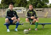 15 July 2014; Conor McManus, Monaghan, left, and Luke Keaney, Donegal, in attendance at an Ulster Senior Football Championship Final press conference.  St Tiernach's Park, Clones, Co. Monaghan. Picture credit: Oliver McVeigh / SPORTSFILE