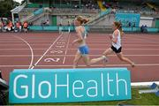 19 July 2014; Maria McCambridge, Dundrum AC, Co. Dublin, leads Fionnuala Britton, Kilcoole AC, Co. Wicklow, during the Women's 5000m Final. GloHealth Senior Track and Field Championships, Morton Stadium, Santry, Co. Dublin. Picture credit: Brendan Moran / SPORTSFILE