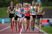 19 July 2014; Ann Marie McGlynn, 199, Lifford AC, Donegal, leads her heat of the Women's 1500m, from Fionnuala Britton,458, Kilcoole AC, Wicklow, Amy O'Donoghue, 132, Emerald AC, Limerick and Kerry O'Flaherty, 252, Newcastle and Districk AC, Down. GloHealth Senior Track and Field Championships, Morton Stadium, Santry, Co. Dublin. Picture credit: Brendan Moran / SPORTSFILE