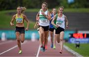 19 July 2014; Fionnuala Britton, right, Kilcoole AC, Wicklow, wins her heat of the Women's 1500m ahead of Amy O'Donoghue, 132, Emerald AC, Limerick, and Kerry O'Flaherty, 252, Newcastle & District AC, Down. GloHealth Senior Track and Field Championships, Morton Stadium, Santry, Co. Dublin. Picture credit: Brendan Moran / SPORTSFILE