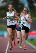19 July 2014; Fionnuala Britton, right, Kilcoole AC, Wicklow, wins her heat of the Women's 1500m ahead of Amy O'Donoghue, Emerald AC, Limerick. GloHealth Senior Track and Field Championships, Morton Stadium, Santry, Co. Dublin. Picture credit: Brendan Moran / SPORTSFILE