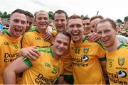 20 July 2014; Donegal players, from left, Martin McElhinney, Patrick McBrearty, Colm McFadden, Neil McGee, Michael Murphy, Luke Keaney and Anthony Thompson, celebrate after the game. Ulster GAA Football Senior Championship Final, Donegal v Monaghan, St Tiernach's Park, Clones, Co. Monaghan. Picture credit: Paul Mohan / SPORTSFILE