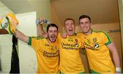 20 July 2014;  Ryan McHugh, Luke Keaney and Patrick McBrearty, Donegal, celebrate after the game. Ulster GAA Football Senior Championship Final, Donegal v Monaghan, St Tiernach's Park, Clones, Co. Monaghan. Picture credit: Oliver McVeigh / SPORTSFILE