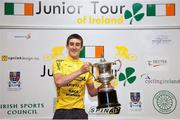 20 July 2014; Overall winner Eddie Dunbar, Team Ireland, on the awards podium following the sixth and final stage of the 2014 International Junior Tour of Ireland, Ennis - Ennis, Co. Clare. Picture credit: Stephen McMahon / SPORTSFILE