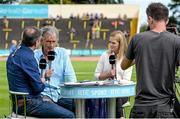 20 July 2014; RTE athletics analyst and coach Jerry Kiernan, centre, and Irish 100m record holder Ailis McSweeney with presenter Peter Collins. GloHealth Senior Track and Field Championships, Morton Stadium, Santry, Co. Dublin. Picture credit: Brendan Moran / SPORTSFILE