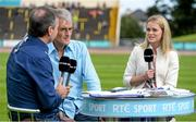 20 July 2014; Irish 100m record holder Ailis McSweeney in her role as athletics analyst for RTE television, alongside co-analyst Jerry Kiernan and presenter Peter Collins. GloHealth Senior Track and Field Championships, Morton Stadium, Santry, Co. Dublin. Picture credit: Brendan Moran / SPORTSFILE