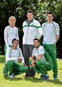 21 July 2014; In attendance at the Irish Team announcement for the European Track and Field Championships Zurich 2014, clockwise from top left, Sarah Lavin, 100m Hurdles, Kevin Ankrom, High Performance Manager, Athletics Ireland, Mark English, 800m, Brian Gregan, 400m, and Thomas Barr, 400m Hurdles. Santry Park, Santry, Co. Dublin. Picture credit: Brendan Moran / SPORTSFILE