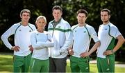 21 July 2014; In attendance at the Irish Team announcement for the European Track and Field Championships Zurich 2014, from left, Thomas Barr, 400m Hurdles, Sarah Lavin, 100m Hurdles, Kevin Ankrom, High Performance Manager, Athletics Ireland, Mark English, 800m, and Brian Gregan, 400m. Santry Park, Santry, Co. Dublin. Picture credit: Brendan Moran / SPORTSFILE