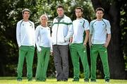 21 July 2014; In attendance at the Irish Team announcement for the European Track and Field Championships Zurich 2014, from left, Thomas Barr, 400m Hurdles, Sarah Lavin, 100m Hurdles, Kevin Ankrom, High Performance Manager, Athletics Ireland, Brian Gregan, 400m, and Mark English, 800m. Santry Park, Santry, Co. Dublin. Picture credit: Brendan Moran / SPORTSFILE