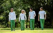 21 July 2014; In attendance at the Irish Team announcement for the European Track and Field Championships Zurich 2014, from left, Thomas Barr, 400m Hurdles, Sarah Lavin, 100m Hurdles, Mark English, 800m, and Brian Gregan, 400m. Santry Park, Santry, Co. Dublin. Picture credit: Brendan Moran / SPORTSFILE