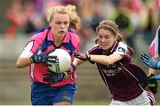 20 July 2014; Rosie Landers, Waterford, in action against Louise Reilly, Galway. All-Ireland U14 'B' Ladies Football Championship Final, Galway v Waterford, MacDonagh Park, Nenagh, Co. Tipperary. Picture credit: Matt Browne / SPORTSFILE