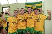 20 July 2014; Leon Thompson, Dermot Molloy, Odhran MacNiallais and Martin O'Reilly, Donegal, celebrating after the game. Ulster GAA Football Senior Championship Final, Donegal v Monaghan, St Tiernach's Park, Clones, Co. Monaghan. Picture credit: Oliver McVeigh / SPORTSFILE