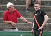 20 July 2014; David Donegan, Clonliffe Harriers AC, right, in conversation with coach John Shields during the Men's Pole Vault. GloHealth Senior Track and Field Championships, Morton Stadium, Santry, Co. Dublin. Picture credit: Brendan Moran / SPORTSFILE