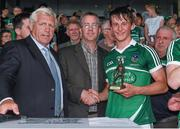 22 July 2014; Paul Stapleton, from Electric Ireland, proud sponsor of the GAA All-Ireland Minor Championships, alongside Jerry O'Sullivan, Munster Council Cice-Chairman, left, presents Tom Morrissey, from Limerick, with the player of the match award for his outstanding performance in the Munster GAA Hurling Minor Championship Final Replay. Electric Ireland Man of the Match at Munster GAA Hurling Minor Championship Final Replay, Limerick v Waterford, Semple Stadium, Thurles, Co. Tipperary. Picture credit: Diarmuid Greene / SPORTSFILE
