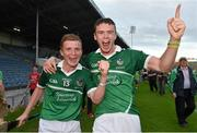 22 July 2014; Limerick players and Na Piarsaigh club-mates Peter Casey, left, and Ronan Lynch celebrate after victory over Waterford. Electric Ireland Munster GAA Hurling Minor Championship Final Replay, Waterford v Limerick, Semple Stadium, Thurles, Co. Tipperary. Picture credit: Diarmuid Greene / SPORTSFILE
