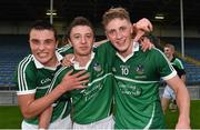 22 July 2014; Limerick players Conor Byrnes, left, Jamie Porter, centre, and Seamus Flanagan celebrate after victory over Waterford. Electric Ireland Munster GAA Hurling Minor Championship Final Replay, Waterford v Limerick, Semple Stadium, Thurles, Co. Tipperary. Picture credit: Diarmuid Greene / SPORTSFILE