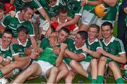 22 July 2014; Limerick players celebrate with team-mate Colin Ryan, centre, after their victory over Waterford. Electric Ireland Munster GAA Hurling Minor Championship Final Replay, Waterford v Limerick, Semple Stadium, Thurles, Co. Tipperary. Picture credit: Diarmuid Greene / SPORTSFILE
