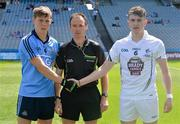 20 July 2014; Dublin captain Con O'Callaghan shakes hands with Kildare captain Paul Mescal before the game, with referee John Hickey. Electric Ireland Leinster GAA Football Minor Championship Final, Kildare v Dublin, Croke Park, Dublin. Picture credit: Ray McManus / SPORTSFILE