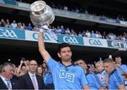 20 July 2014; Cian O'Sullivan, Dublin, lifts the Delaney Cup. Leinster GAA Football Senior Championship Final, Dublin v Meath, Croke Park, Dublin. Picture credit: Ray McManus / SPORTSFILE