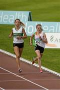 19 July 2014; Fionnuala Britton, right, Kilcoole A.C, leads her heat in the women's 1500m, ahead of Amy O'Donoghue, Emerald A.C, GloHealth Senior Track and Field Championships, Morton Stadium, Santry, Co. Dublin. Picture credit: Piaras O Midheach / SPORTSFILE