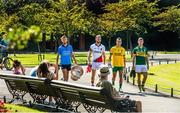 23 July 2014; In attendance at the launch of 2014 GAA Football Championship All-Ireland Series are, from left, Jonny Cooper, Dublin, Robert Hennelly, Mayo, Karl Lacey, Donegal, and James O'Donoghue, Kerry, and the Sam Maguire Cup. St. Stephen's Green, Dublin. Picture credit: Ray McManus / SPORTSFILE