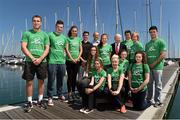23 July 2014; President of the Olympic Council of Ireland Pat Hickey with members of the Youth Olympic Team, from left to right, Adam King, Athletics, Eoin Sheridan, Athletics, Emer Lambe, Rowing, Seamus O'Connor, Snowboarding, Martin Burke, Team Ireland Chef de Mission Ciara Ginty, Boxing, Calum Bain, Swimming, Michael Duffy, Equestrian, and Michael Gallagher, Boxing. Front row, from left to right, Louise Shanahan, Athletics, Rosanne McGuickian, Athletics, Christina Desmond, Boxing, Michaella Walsh, Athletics, and Laoise Fleming, Swimming, in attendance at an Nanjing Youth Olympic Team Day. Howth Yacht Club, Howth, Co, Dublin. Picture credit: David Maher / SPORTSFILE
